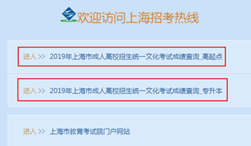 2019年上海成人高考成绩查询入口