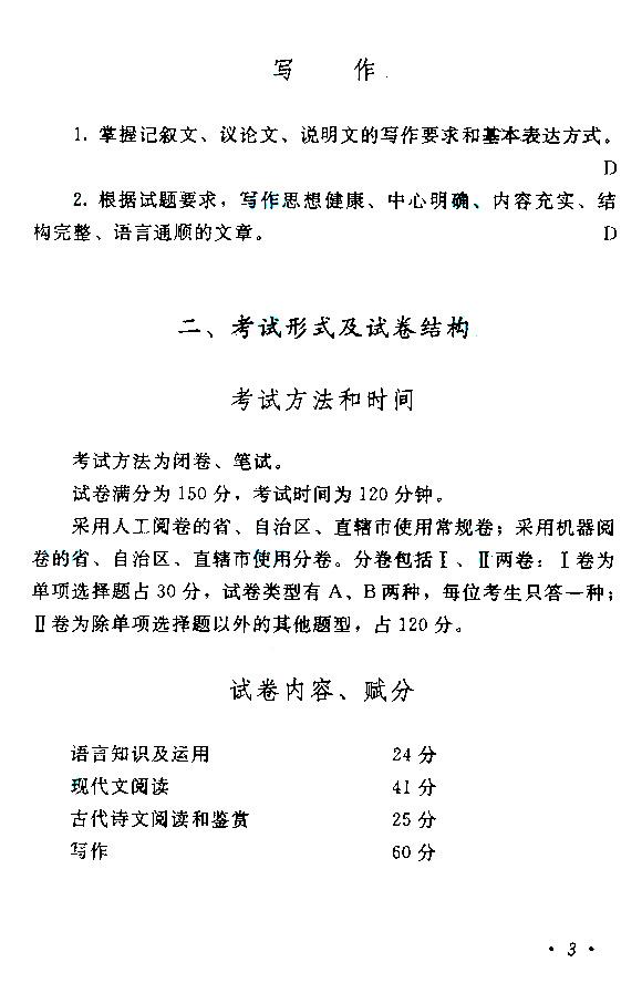 2013年全国成人高考考试大纲